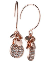 Anne Klein | Pink Silver-tone Crystal Disc Drop Earrings | Lyst