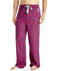 Psycho Bunny - Pink Flannel Pajama Pants for Men - Lyst