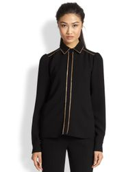 See By Chloé - Black Sequin-Trimmed Shirt - Lyst