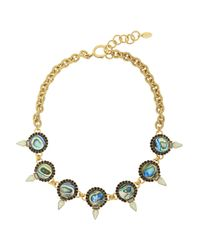 Elizabeth Cole | Blue Gold-plated Mother Of Pearl And Crystal Bib Necklace | Lyst