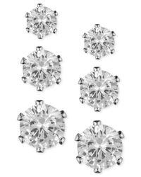 Anne Klein - Metallic Glass Stone Stud Earring Set - Lyst