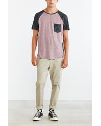 BDG | Gray Raglan Tonal Blocked Pocket Tee for Men | Lyst
