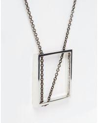 ASOS - Metallic Square Pendant Necklace for Men - Lyst