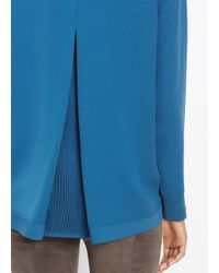 VINCE | Blue Inverted Pleat Blouse | Lyst