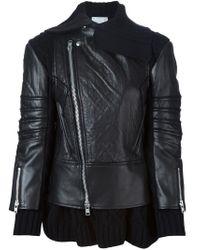Sacai - Black Layered Biker Jacket - Lyst