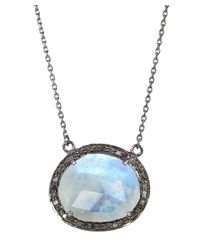 Adornia - White Gemstone And Champagne Diamond Fifth Ave Necklace - Lyst