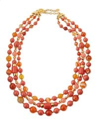 Jose & Maria Barrera | Metallic Triple-strand Beaded Necklace | Lyst