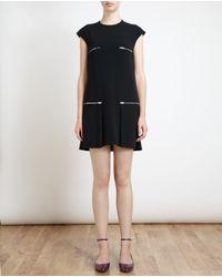 Stella McCartney - Black Zip Pocket Crepe Dress - Lyst