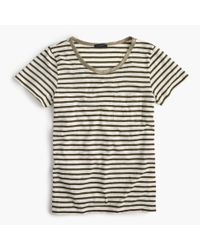 J.Crew | Green Striped Pocket T-shirt With Metallic Trim | Lyst