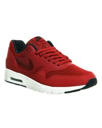 Nike - Red Air Max 1 Leather Low-Top Sneakers for Men - Lyst