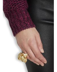 Alexander McQueen - Metallic Gold Tone Skull And Talon Ring - Lyst