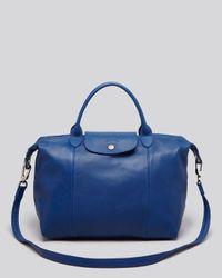 Longchamp - Blue Le Pliage Cuir Medium Satchel - Lyst