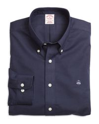 Brooks Brothers - Blue Non-iron Regular Fit Solid Sport Shirt for Men - Lyst