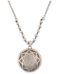 Lucky Brand - Metallic Silver-Tone Clear Stone Pendant Necklace - Lyst