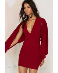Nasty Gal | Red Kendra Plunging Cape Dress | Lyst