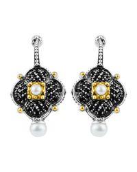 Konstantino | White Spinel & Pearl Clover Earrings | Lyst