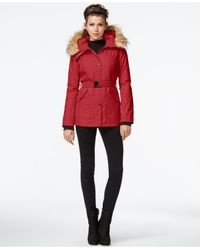 Jessica Simpson | Red Faux-fur-trim Belted Coat | Lyst