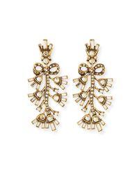 Oscar de la Renta | Metallic Floral Baguette Crystal Clip Earrings | Lyst