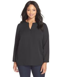 NIC+ZOE | Black Faux Leather Trim Split Neck Blouse | Lyst