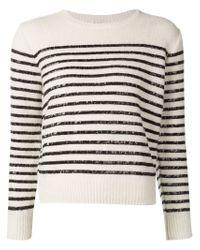 Saint Laurent - Natural Sequin Striped Sweater - Lyst
