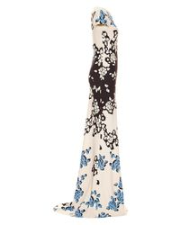 Carolina Herrera - Blue Bordered Floral Print Gown - Lyst