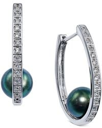 Macy's - Green Tahitian Freshwater Pearl (8-9mm) And White Topaz Accent Hoop Earrings In Sterling Silver - Lyst