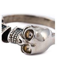 Alexander McQueen - Metallic Twin Skull Ring for Men - Lyst