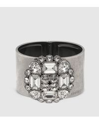 Gucci | Metallic Cuff With Swarovski Crystals | Lyst