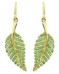 Jennifer Meyer - Green Emerald Leaf Earrings - Lyst