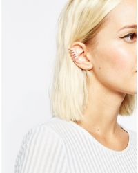 ASOS - Metallic Faux Pearl Bar Ear Cuff - Lyst