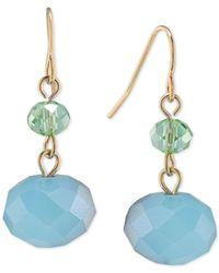 Carolee - Metallic Gold-tone Blue Bead Drop Earrings - Lyst