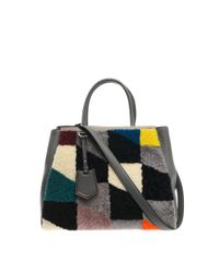 Fendi - Gray 2Jours Shearling And Leather Tote - Lyst
