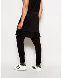 ASOS | Black Drop Crotch Joggers With Mesh Layer for Men | Lyst