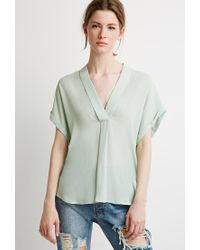 Forever 21 | Green Contemporary V-neck Shawl Collar Blouse | Lyst
