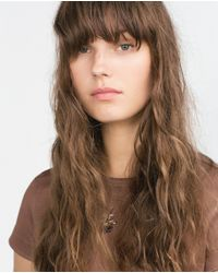 Zara | Brown Jewel Applique T-shirt | Lyst