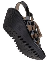 Fly London | Yito Wedge Sandal Black Patent | Lyst