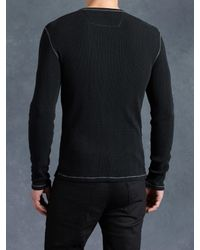 John Varvatos - Black Cotton Waffle Henley for Men - Lyst