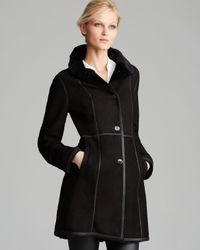 Maximilian | Black Shearling Lamb Three Quarter Sleeve Coat With Leather Trim | Lyst