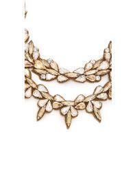 Deepa Gurnani - Metallic Crystal Layered Necklace - Clear/Gold - Lyst