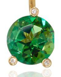 Delfina Delettrez - Gold Magic Triangle Earring With Green Topaz - Lyst