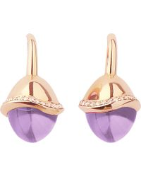 Links of London | Purple Infinite Love Amethyst 18ct Rose Gold Pave Set Diamond Earrings | Lyst
