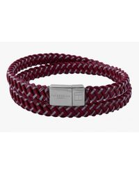 Tateossian - Intrecciato Bracelet In Red Leather And Steel With Silver Clasp for Men - Lyst