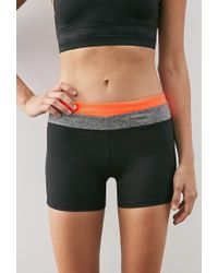 Forever 21 - Black Colorblock Yoga Shorts - Lyst