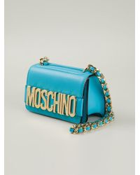 Moschino | Blue Logo-Detail Calf-Leather Cross-Body Bag | Lyst