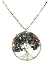 Aeravida - Metallic Seven Color Jade Stone Eternal Tree Of Life Brass Long Necklace - Lyst