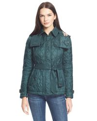 Burberry Brit | Green 'finsbridge' Short Quilted Jacket | Lyst