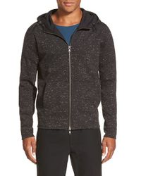 VINCE | Black Jaspe Full Zip Hoodie for Men | Lyst
