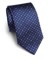 Saks Fifth Avenue - Blue Textured Dot Silk Tie for Men - Lyst