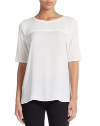 Lord & Taylor | White Contrast Yoke Roundneck Top | Lyst