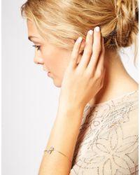 ASOS - Metallic Open Ended Fine Jewel Cuff Bracelet - Lyst